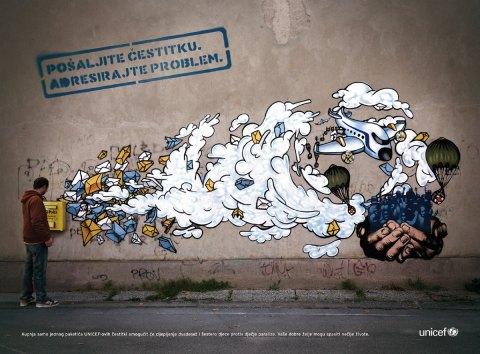 in UNICEF Graffiti-Aktion aus Kroatien