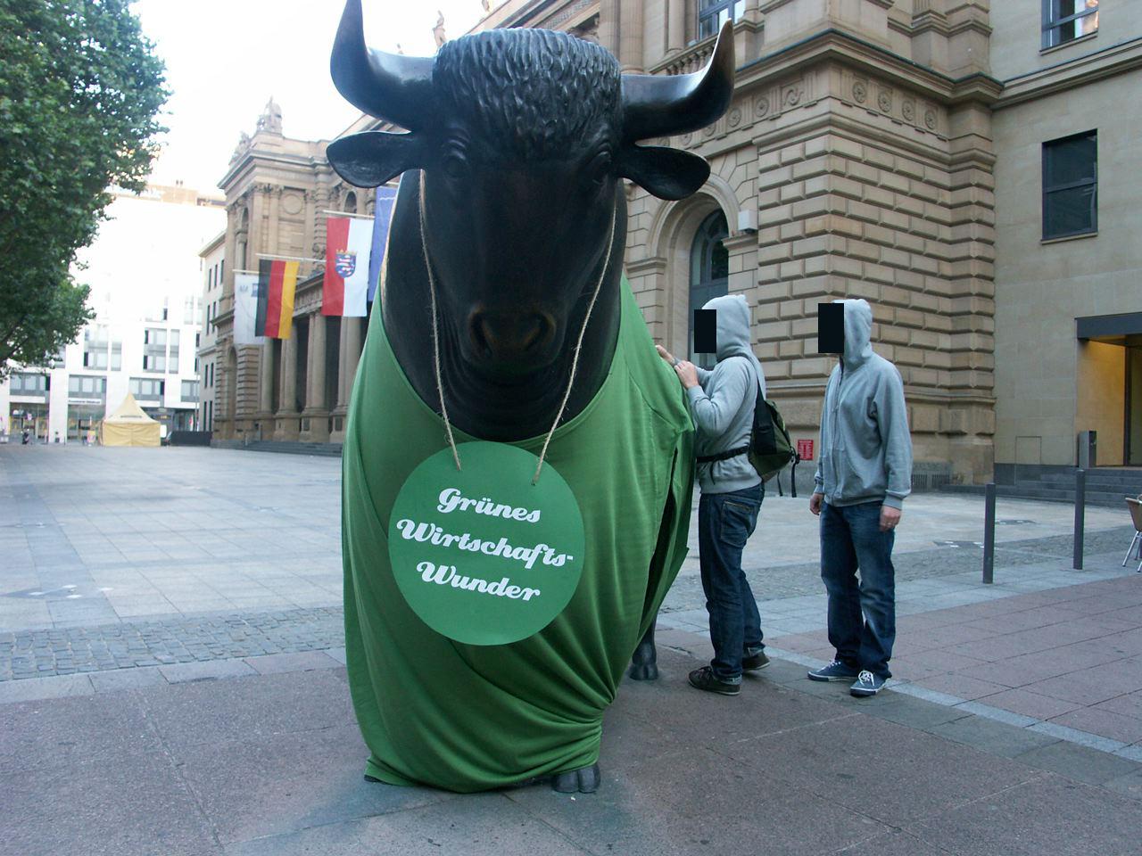 Bulle-1 in Guerilla-Aktion an der Frankfurter Börse