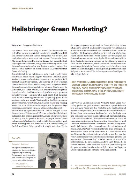 Bild-1 in Meinungsmacher-Kolumne zum Thema Green Marketing in der neuen Ausgabe der Zeitschrift acquisa